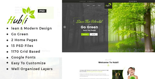 Hubli : Go Green PSD Template - Environmental Nonprofit