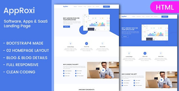 AppRoxi - Bootstrap4 Responsive App Landing Page - Corporate Site Templates