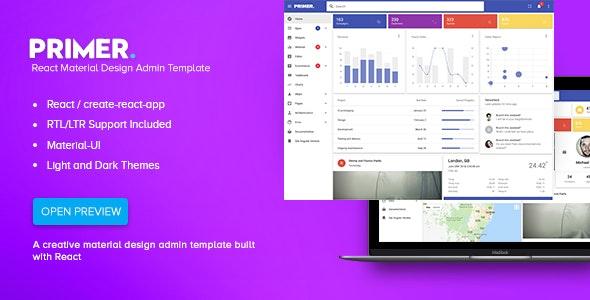 Primer - React Material Design Admin Template - Admin Templates Site Templates