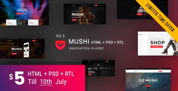 Mushi | Multipurpose HTML Template - Corporate Site Templates