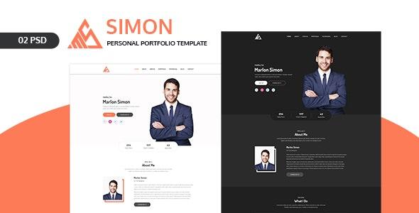 Simon Personal Portfolio Landing Page Psd Template By Ir Tech Themeforest