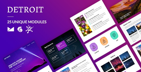 Detroit Email-Template + Online Builder - Newsletters Email Templates