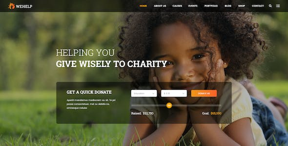WeHelp - Nonprofit Charity Fundraising PSD Template