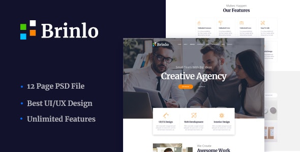 Brinlo - Creative agency startup business corporate PSD Template - Creative Photoshop