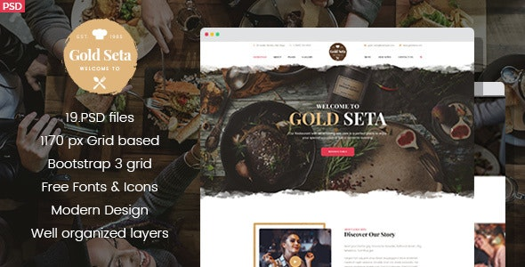 Gold Seta - Cafe PSD Template - Restaurants & Cafes Entertainment