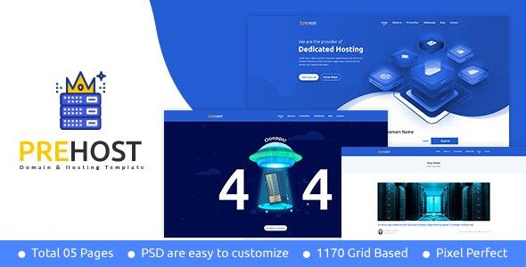Prehost - Domain & Hosting PSD Template - Photoshop UI Templates