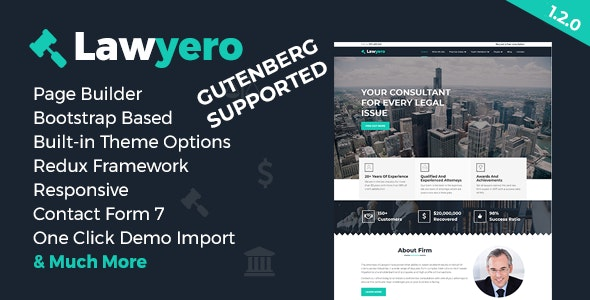 Lawyero - Attorneys & Lawyer  WordPress Theme - Business Corporate