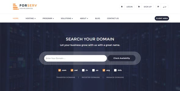 Forserv - WHMCS & HTML Responsive Web Hosting Template (RTL Included)