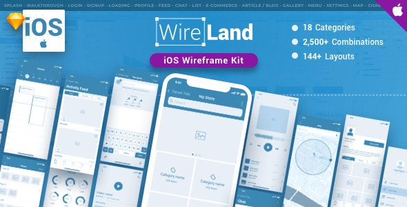 Wireland iOS Wireframe Kit - 144+ App Screens for Sketch - Sketch Templates