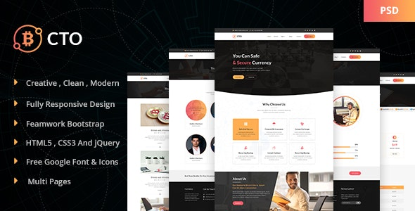 CTO - Crypto Currency PSD Template - Technology Photoshop