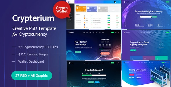 Crypterium - Cryptocurrency & ICO Landing Pages PSD Pack - Photoshop UI Templates