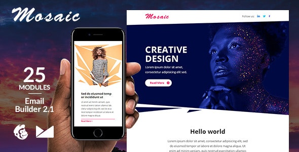 Mosaic Responsive Email Template + Online Emailbuilder 2.1 - Newsletters Email Templates