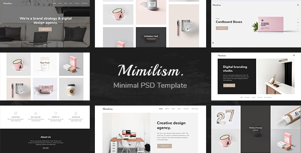 Mimilism — Clean & Minimal Portfolio PSD Template - Creative Photoshop