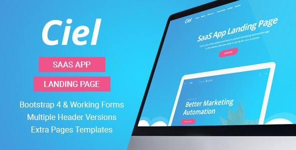 Ciel - SaaS App Landing Page Template - Software Technology