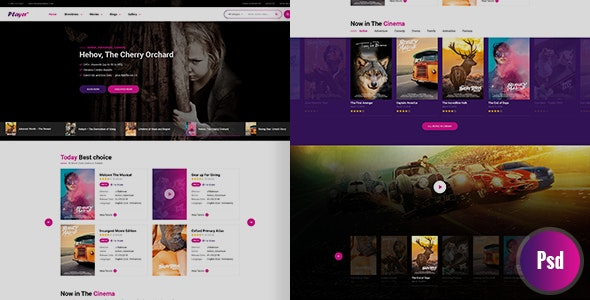 Player PSD Template - Entertainment Photoshop