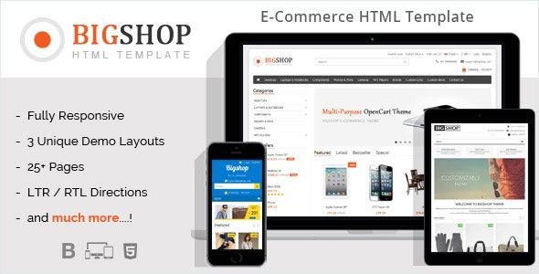 Bigshop - eCommerce HTML Template - Retail Site Templates