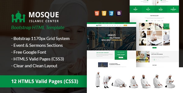 Mosque - Islamic Center Bootstrap HTML Template - Nonprofit Site Templates