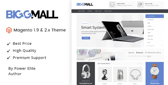 BiggMall - Responsive Magento 1 & 2 Theme - Technology Magento
