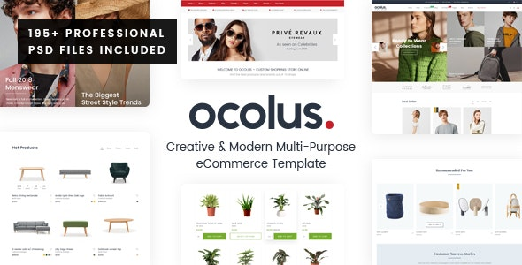 Ocolus - Creative & Modern Multi-Purpose eCommerce PSD Template - Shopping Retail