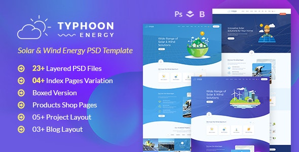 Typhoon - Solar Energy PSD Template - Business Corporate