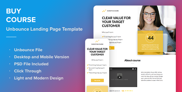 Buy Course - Responsive Unbounce Landing Page Template - Unbounce Landing Pages Marketing
