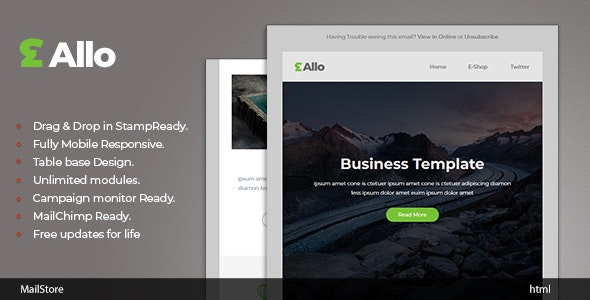 Allo - Responsive Email template with Stampready Builder - Newsletters Email Templates