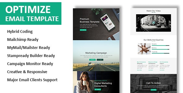 Optimize - Multipurpose Responsive Email Template with Online StampReady & Mailchimp Builders - Newsletters Email Templates