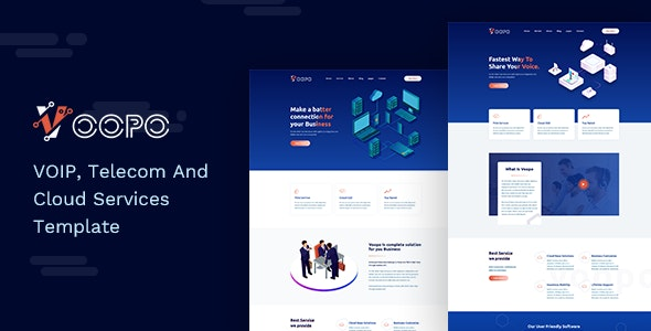 Voopo - VOIP, Telecom And Cloud Services HTML Template - Business Corporate
