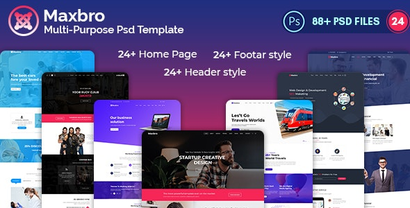 Maxbro-Multi-Purpose-Creative PSD Template - Photoshop UI Templates