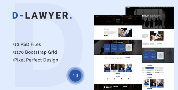 D-Lawyer - Lawyer, Law Firm PSD Template - Business Corporate