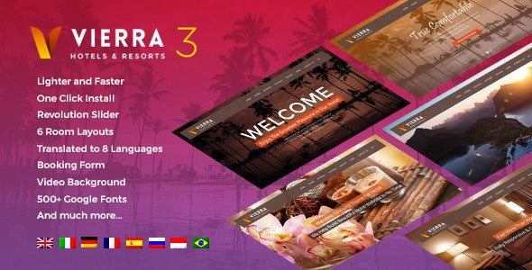 Vierra - Hotel, Resort, Inn & Booking WordPress Theme - Travel Retail