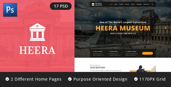 HEERA: Museum and Exhibition PSD website template - Miscellaneous Photoshop
