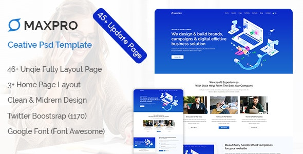 Maxpro - Creative PSD Template - Photoshop UI Templates