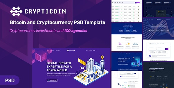 Crypticoin - Bitcoin and Cryptocurrency PSD Template - Technology Photoshop