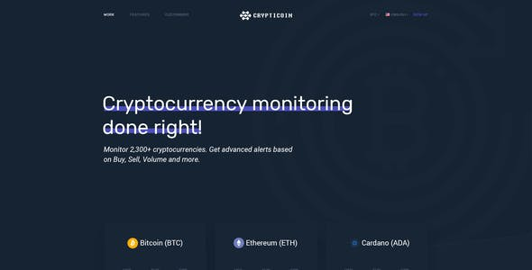 Crypticoin - Bitcoin and Cryptocurrency PSD Template