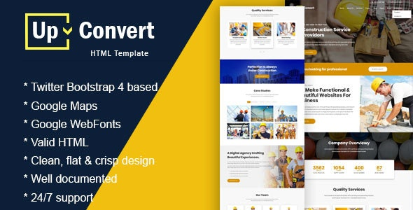 Upconvert - Construction Building  Responsive Template - Corporate Site Templates