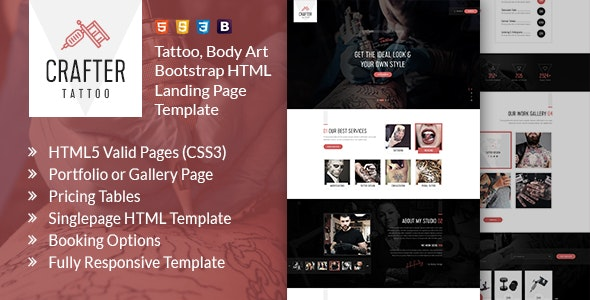 Crafter - Tattoo Bootstrap Landing Page Template - Art Creative