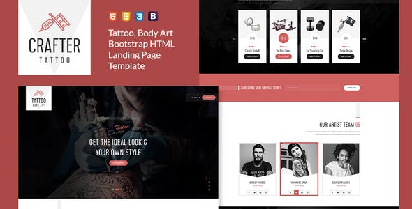 Crafter - Tattoo Bootstrap Landing Page Template