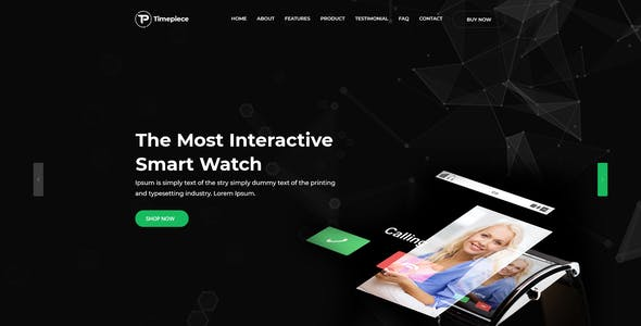 Timepiece - Product Landing Page PSD Template