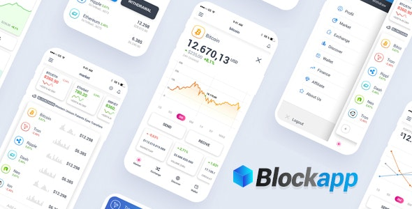 BlockApp - Crypto Currency Mobile App PSD Template - Technology Photoshop