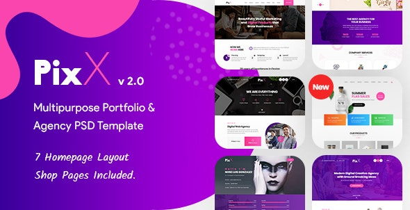 PixX — Multipurpose Portfolio & Agency PSD Template - Creative Photoshop