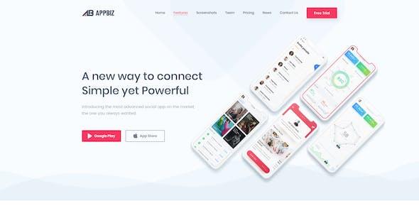 Appbiz- Creative app landing PSD Template
