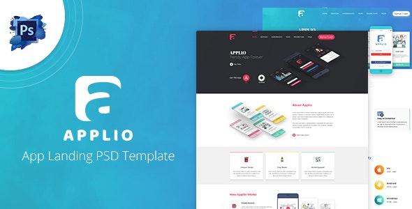 Applio - App Landing PSD Template - Photoshop UI Templates