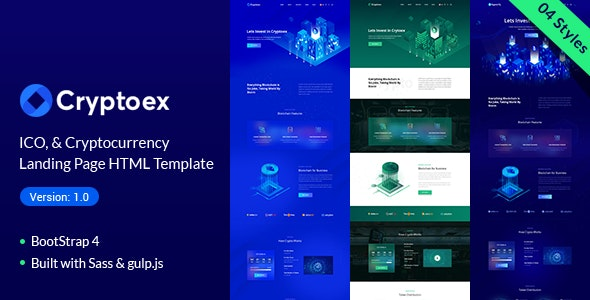 Trypto ICO and Cryptocurrency Landing Page HTML Template - Technology Site Templates