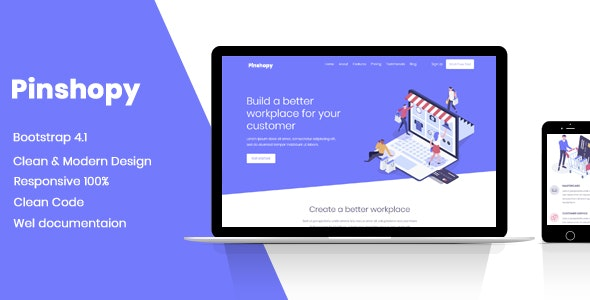 Pinshopy Landing Page Template - Technology Site Templates