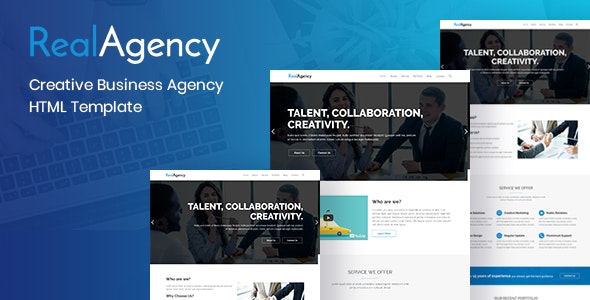 RealAgency– Creative Business Agency HTML Template. - Business Corporate