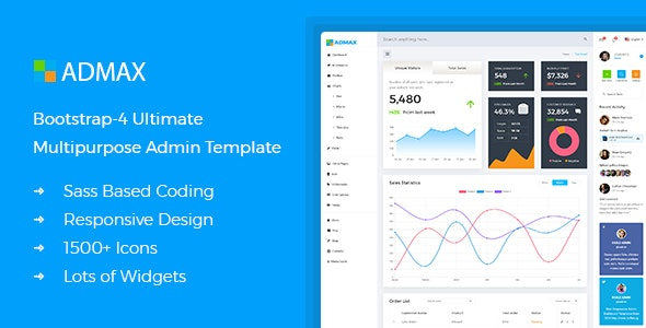 Admax - Responsive Bootstrap 4 Admin Template - Admin Templates Site Templates