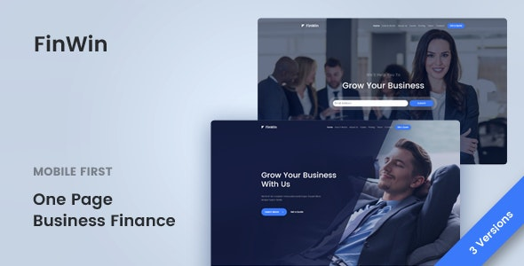 FinWin - One Page Business Finance Template - Corporate Site Templates