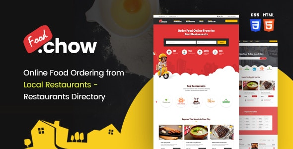 FoodChow - A Food Ordering or Hotel Directory HTML Template - Restaurants & Cafes Entertainment