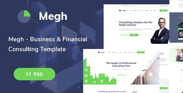 Megh - Business & Financial Consulting PSD Template - Corporate Photoshop